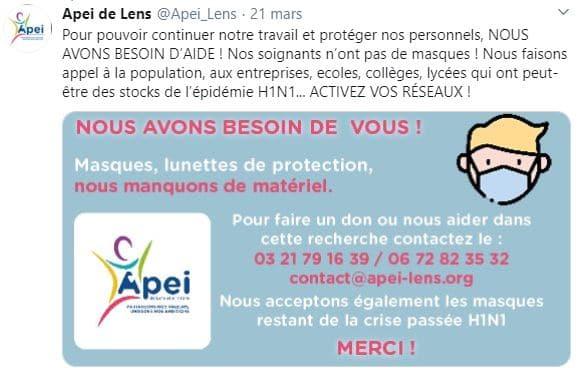 Appel aux dons de matériel de protection de l'APEI de Lens. Ils demandent des masques, des lunettes de protection. Ils indiquent les numéros de contact : 0321791639 / 0672823532. Une adresse mail : contact@apei-lens.org