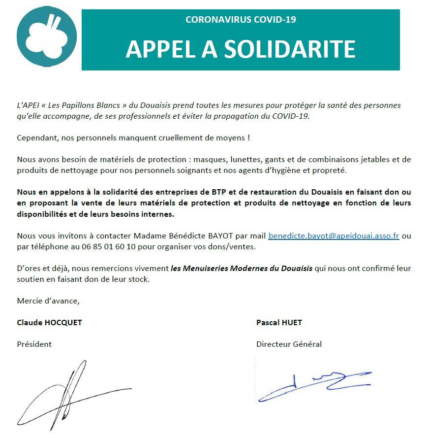 Document officiel de l'APEL Les Papillons blancs du Douaisis pour lancer un appel aux dons de mesure de protection.