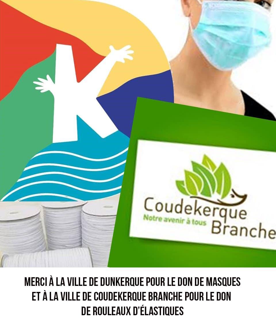 Affiche de remerciement de dons à la ville de Dunkerque pour les masques et à la ville de Coudekerque Branche pour les rouleaux d'élastiques. On y voit une personne qui porte un masque chirurgical, le logo de la ville de Coudekerque Branche qui est un hérisson avec des feuilles vertes pour épines.