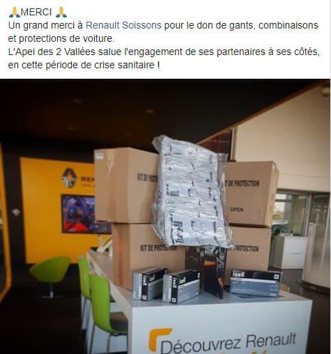 Dons de matériel de protection à l'APEI de Soissons.